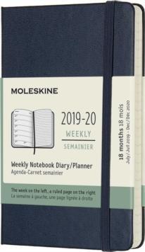 Moleskine weekly pocket hard cover sapphire blue 18 maanden 2019-2020