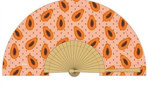 Fisura houten waaier met stof Papaya