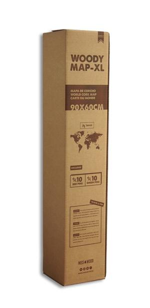 Wereldkaart Kurk Xl- Zwart