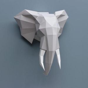 Paper Olifant Folding Kit  grijs Assembli