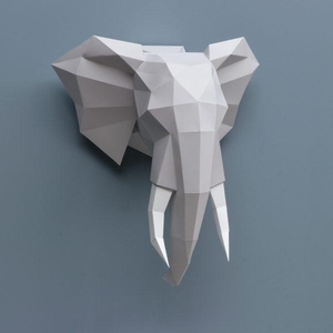 Papieren Olifant Bouwplaat / Paper Elephant Folding Kit Assembli