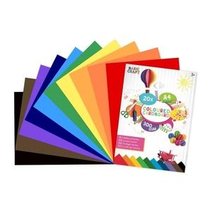 Basic Craft A4 Blok Gekleurd Karton 300 gr - 20 vel