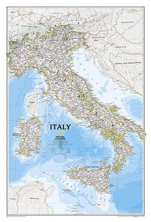 Italië wandkaart geplastificeerd