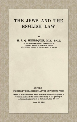 Jews And The English Law (1908)