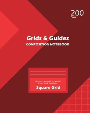 Grids And Guides Square Grid, Quad Ruled, Composition Notebook, 100 Sheets, Large Size 8 X 10 Inch Red Cover
