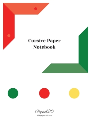 Cursive Paper Notebook White Cover 124 Pages6x9-inches