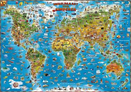 Wereldkaart kinderen wandkaart geplastificeerd