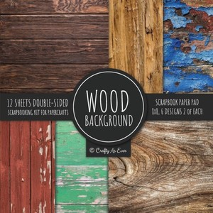 Wood Background Scrapbook Paper Pad 8x8 Scrapbooking Kit For Papercrafts, Cardmaking, Diy Crafts, Rustic Texture Design, Multicolor