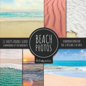 Beach Photos Scrapbook Paper Pad 8x8 Scrapbooking Kit For Papercrafts, Cardmaking, Diy Crafts, Summer Aesthetic Design, Multicolor