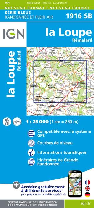 IGN 1916SB La Loupe - Rémalard 1:25.000 Série Bleue Topografische Wandelkaart