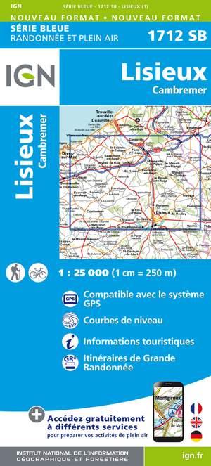 IGN 1712SB Lisieux - Cambremer 1:25.000 Série Bleue Topografische Wandelkaart