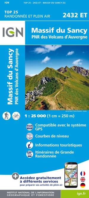 IGN 2432ET Massif du Sancy 1:25.000 TOP25 Topografische Wandelkaart