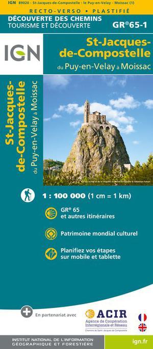 IGN St-Jacques de Compostelle. Le Puy-Moissac. Dcouverte des chemins 1:100.000
