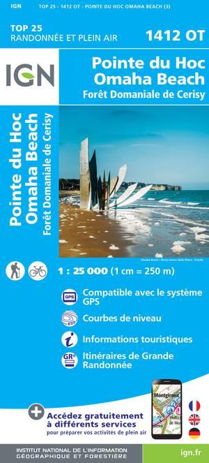 IGN 1412OT Pointe du Hoc - Omaha Beach 1:25.000 TOP25 Topografische Wandelkaart