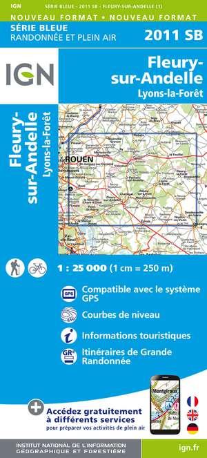 IGN 2011SB Fleury-sur-Andelle - Lyons-la-Forêt 1:25.000 Série Bleue Topografische Wandelkaart