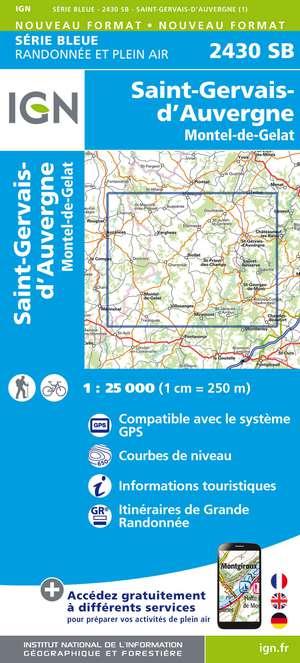 IGN 2430SB St-Gervais d'Auvergne 1:25.000 Série Bleue Topografische Wandelkaart