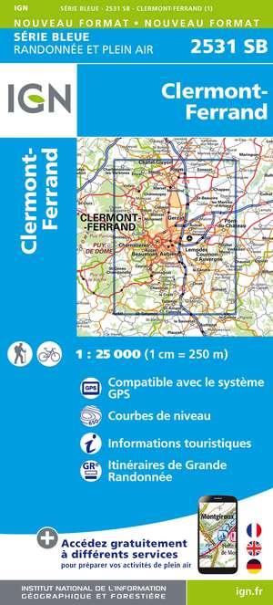 IGN 2531SB Clermont-Ferrand 1:25.000 Série Bleue Topografische Wandelkaart