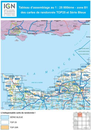 IGN 1711OT Honfleur - Deauville 1:25.000 TOP25 Topografische Wandelkaart