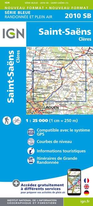 IGN 2010SB St-Saëns - Clères 1:25.000 Série Bleue Topografische Wandelkaart