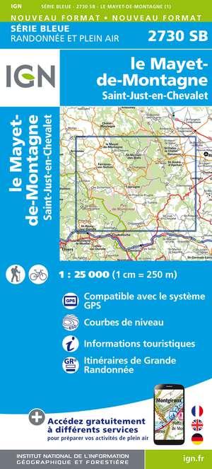 IGN 2730SB Le Mayet-de-Montagne - St-just-en-Chevalet 1:25.000 Série Bleue Topografische Wandelkaart