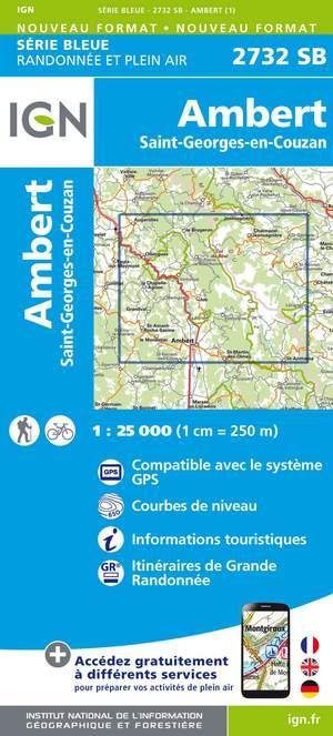 IGN 2732SB Ambert - St-Georges-en-Couzan 1:25.000 Série Bleue Topografische Wandelkaart