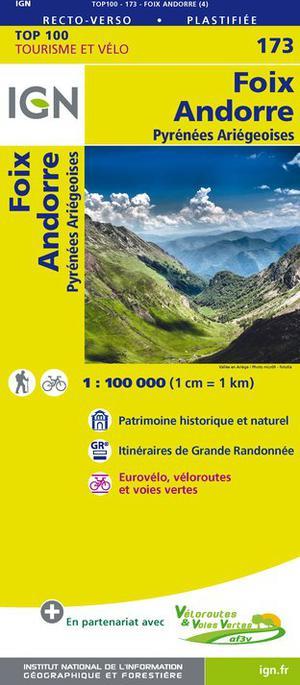 IGN Fietskaart Wegenkaart 173 Foix - Andorre 1:100.000 TOP100