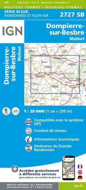 IGN 2727SB Dompierre-sur-Besbre - Molinet 1:25.000 Série Bleue Topografische Wandelkaart