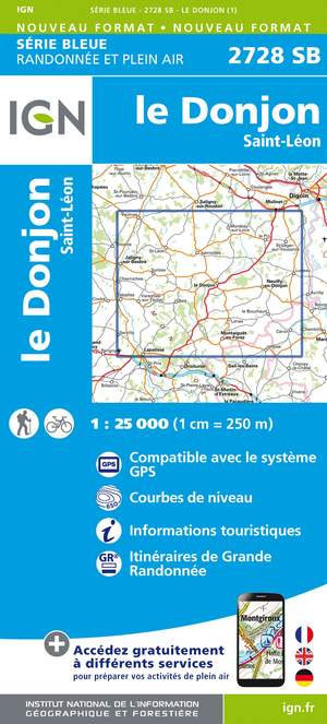 IGN 2728SB Le Donjon - Saint-Léon 1:25.000 Série Bleue Topografische Wandelkaart