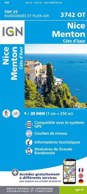 IGN 3742OT Nice - Menton 1:25.000 TOP25 Topografische Wandelkaart