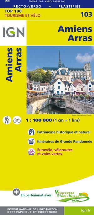 IGN Fietskaart Wegenkaart 103 Amiens - Arras 1:100.000 TOP100