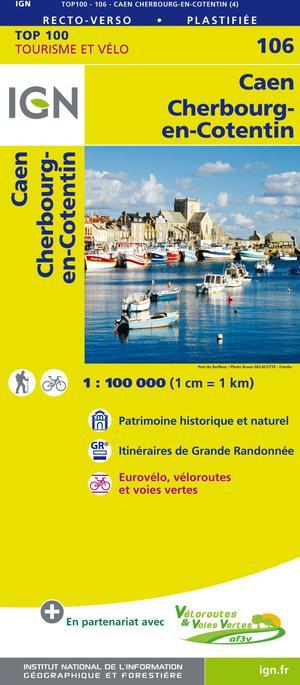 IGN Fietskaart Wegenkaart 106 Caen - Cherbourg-en-Cotentin 1:100.000 TOP100