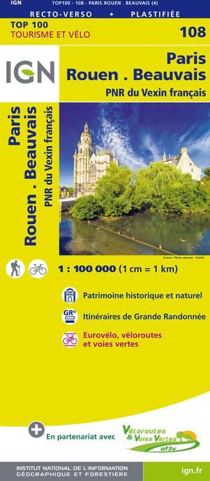 IGN Fietskaart Wegenkaart 108 Parijs - Rouen 1:100.000 TOP100