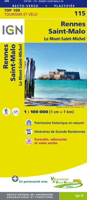 IGN Fietskaart Wegenkaart 115 Rennes - St-Malo 1:100.000 TOP100