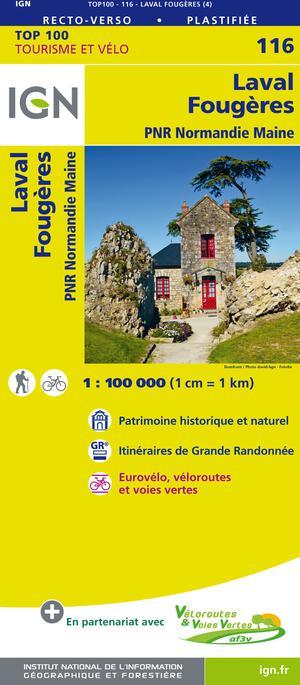 IGN Fietskaart Wegenkaart 116 Laval -Fougères 1:100.000 TOP100