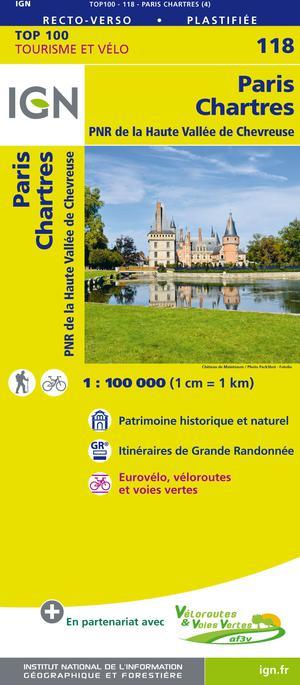 IGN Fietskaart Wegenkaart 118 Parijs - Chartres 1:100.000 TOP100