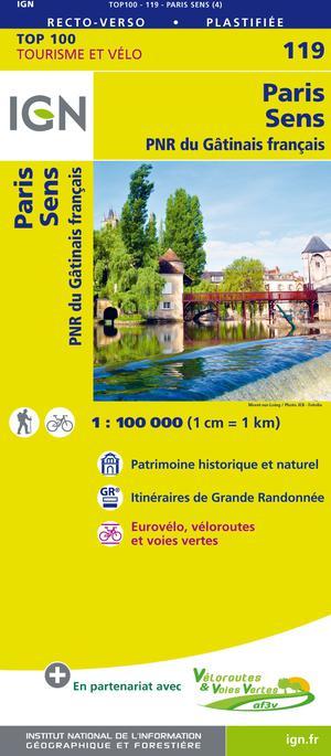 IGN Fietskaart Wegenkaart 119 Parijs - Sens 1:100.000 TOP100