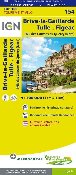 IGN Fietskaart Wegenkaart 154 Brive-la-Gaillarde -Tulle 1:100.000 TOP100