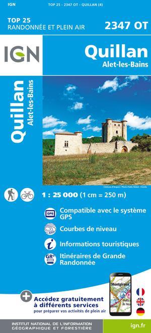 IGN 2347OT Quillan - Alet-les-Bains 1:25.000 TOP25 Topografische Wandelkaart