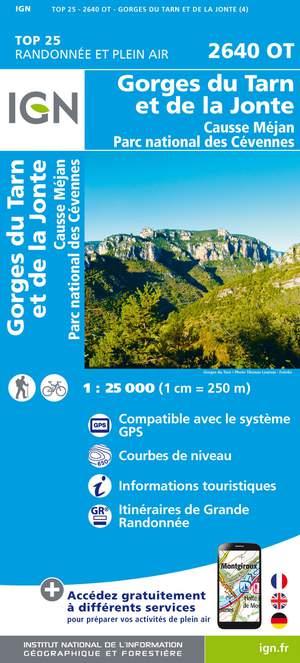 IGN 2640OT Gorges du Tarn et de la Jonte - Causse Méjan 1:25.000 TOP25 Topografische Wandelkaart