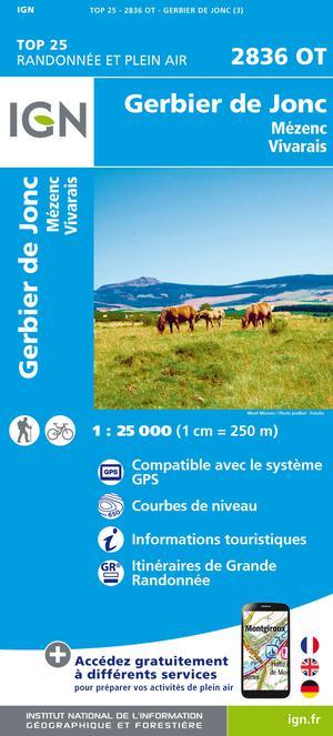 IGN 2836OT Gerbier de Jonc - Mézenc 1:25.000 TOP25 Topografische Wandelkaart