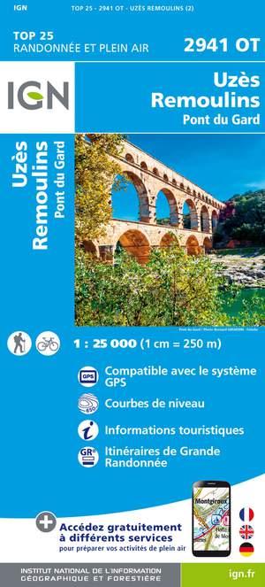 IGN 2941OT Uzès - Remoulins 1:25.000 TOP25 Topografische Wandelkaart