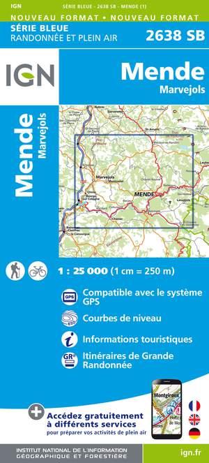 IGN 2638SB Mende - Marvejols 1:25.000 Série Bleue Topografische Wandelkaart