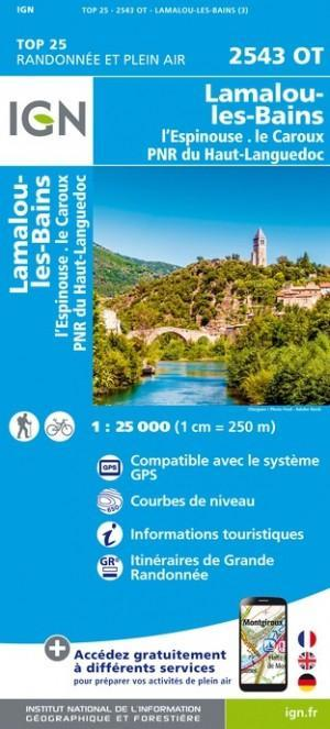 IGN 2543OT Lamalou-les-Bains - L'Espinouse 1:25.000 TOP25 Topografische Wandelkaart