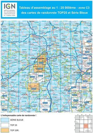 IGN 2636SB Saugues - Malzieu-Ville - Mont Mouchet 1:25.000 Série Bleue Topografische Wandelkaart