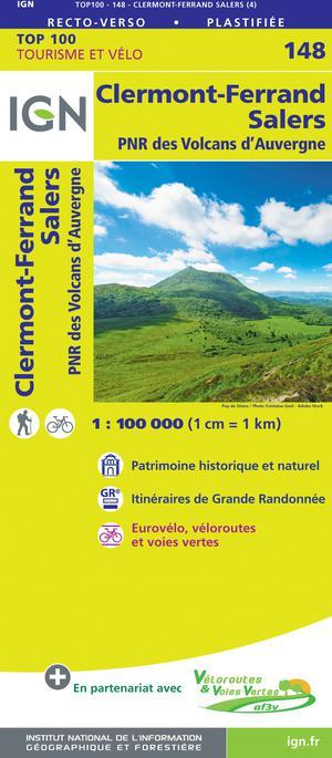 IGN Fietskaart Wegenkaart 148 Clermont-Ferrand - Salers 1:100.000 TOP100