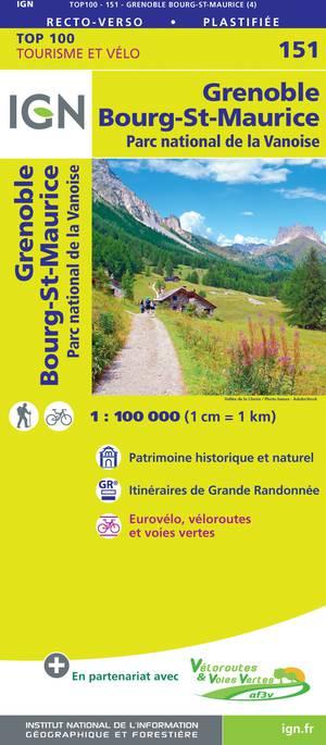 IGN Fietskaart Wegenkaart 151 Grenoble - Bourg-St-Maurice 1:100.000 TOP100
