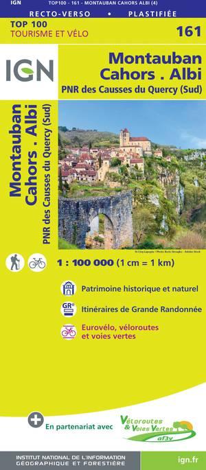 IGN Fietskaart Wegenkaart 161Montauban - Cahors 1:100.000 TOP100