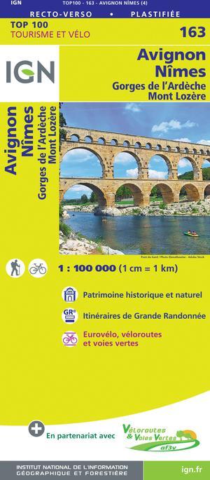 IGN Fietskaart Wegenkaart 163 Avignon - Nîmes 1:100.000 TOP100