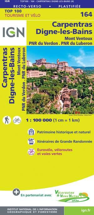 IGN Fietskaart Wegenkaart 164 Carpentras - Digne-Les-Bains -  Mont Ventoux 1:100.000 TOP100