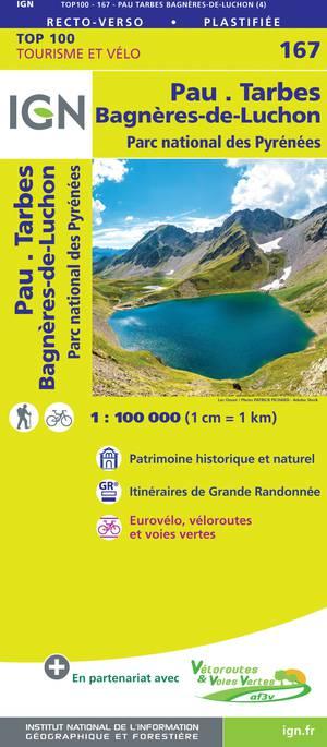 IGN Fietskaart Wegenkaart 167 Pau - Tarbes 1:100.000 TOP100